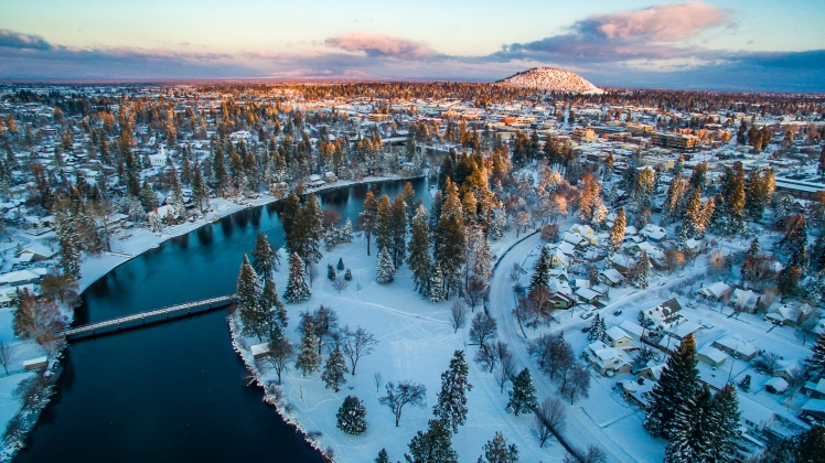 Drake-Park-Bend-Oregon-Aerial-Stock